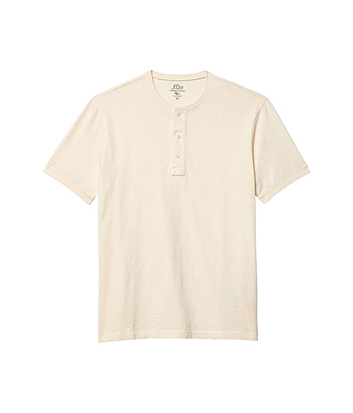 Men's Vintage Workwear Inspired Clothing J.Crew Garment Dye Short Sleeve Henley Natural Mens Clothing $32.41 AT vintagedancer.com