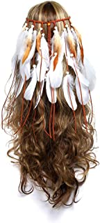 Indian Headdress Women Bohemia White Feather Tassel Headband Wedding Headbands for Women Ladies Girls Party Headwear Hair Styling Accessories