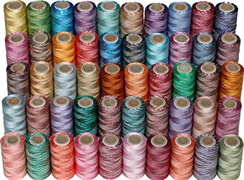 Lot de 50 bobines de fil double tons pour machines à coudre Brother Babylock Janome Singer Pfaff Husqvarna Bernina, 50 couleurs