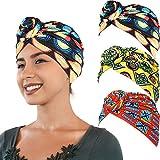 SATINIOR 3 Pezzi Africana Turbante Sciarpa Avvolge Testa Boho Turbante Elastico Annodato Berretto Cappello (Rosso, Nero e Giallo)