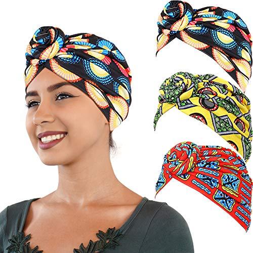 SATINIOR 3 Stücke Afrikanischen Turban Kopf Wickeln Schal Boho Turban Elastische Verknotete Cap (Rot, Schwarz und Gelb)
