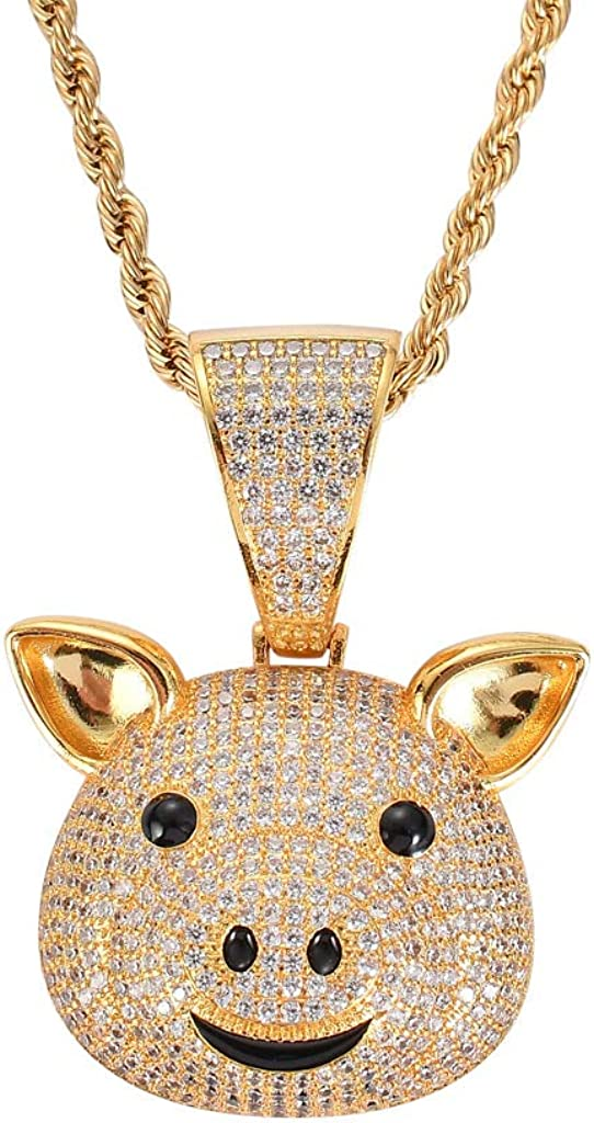 Moca Jewelry Hip Hop Animal Pig Ice Out Pendant Simulated Diamond Chain 18K Gold Plated Necklace for Men Women