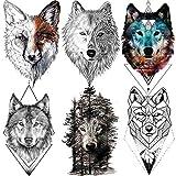 6 Sheets FANRUI 3D Large Realistic Geometric Wolf Temporary Tattoos For Men Women Waterproof Tribal Forest Wolf Fox Coyote Temporary Tatoo Arm Leg Shoulder Armband Custom Fake Tattoo Sticker Paper DIY