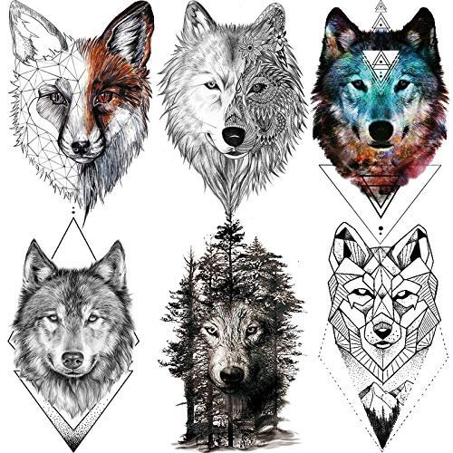 6 Sheets FANRUI 3D Large Realistic Geometric Wolf Temporary Tattoos For Men Women Waterproof Tribal Forest Wolf Fox Coyote Temporary Tatoo Arm Leg Shoulder Armband Custom Fake Tattoo Sticker Paper DIY