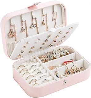 صندوق تخزين المجوهرات - قلادة حلقة تخزين، صندوق تخزين المجوهرات المحمولة، مناسب للخواتم والقلادات والاقرااط والاسورة، للنس...