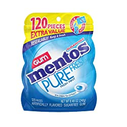 Mentos Pure Fresh Sugar-Free Chewing Gum with Xylitol, Fresh Mint, Halloween Candy, Bulk, 120 Piece