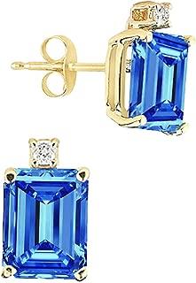 8x6MM Emerald Cut Gemstone And Diamond Earrings In 14K Yellow Gold