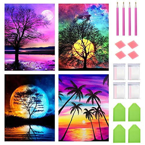 """FineGearPow 4 Pack 5D Diamond Painting Kit for Adults Kids, Full Drill Crystal Embroidery Painting Arts Crafts for Home Wall Decor, Moon & Trees & Sunset, 11.8"""" x 15.7"""", Without Frame"""
