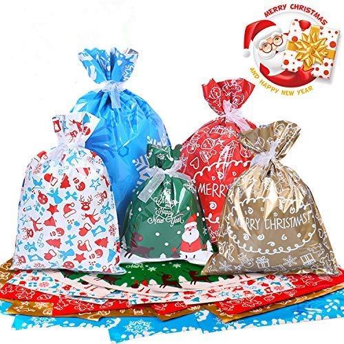 Omew Sacs Cadeaux Noël Lot de 40 Grands Sacs Emballage Cadeaux avec des Liens de Ruban pour la Fête de Noël, Cadeaux, Décorations de Vacances
