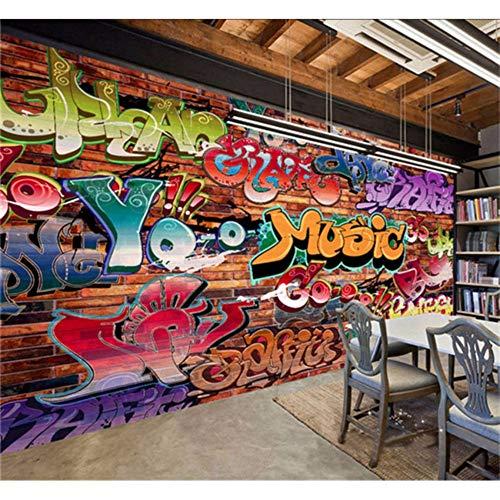 3D Muurschildering Woonkamer Slaapkamer Muurstickers Persoonlijkheid Graffiti Hip Hop Industriële Wind Bar Achtergrond Fitness Dans Kamer Straat Dans Aangepaste Elke Maat 280x200cm