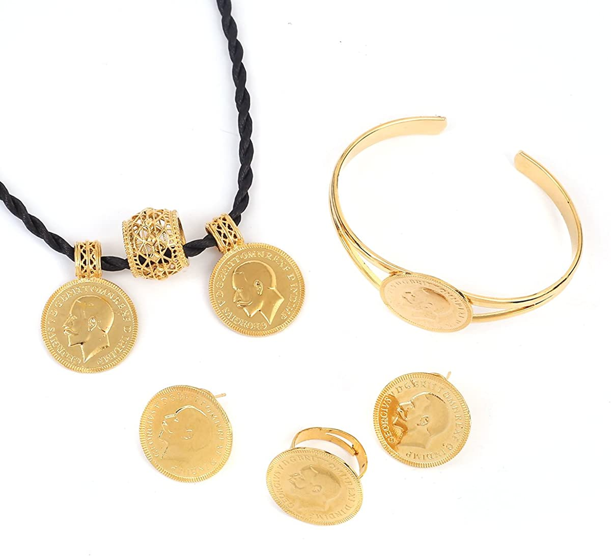 African 24K Gold Coin Jewelry Sets Ethiopian Coin Set Necklace Jewelry