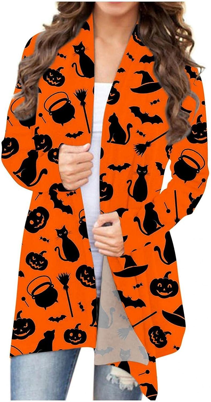 Gibobby Halloween Cardigan for Women,Women's Funny Cat Pumpkin Print Open Front Sweaters Fashion Coat Outwear Blouses