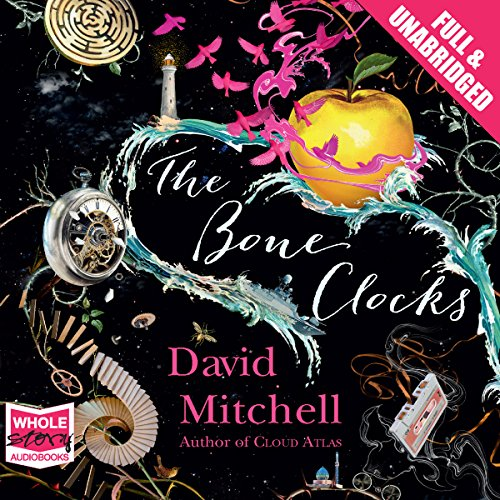 The Bone Clocks                   By:                                                                                                                                 David Mitchell                               Narrated by:                                                                                                                                 Jessica Ball,                                                                                        Leon Williams,                                                                                        Colin Mace,                   and others                 Length: 24 hrs and 29 mins     147 ratings     Overall 4.2