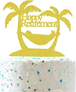 Happy Retirement Cake Toppers, Retirement Beach Party Cake Decor, Time to Relax/Goodbye Tension Hello Pension/Welcome Back/The Adventure Begin/Funny Retirement Theme Retired Party Supplies Decoration