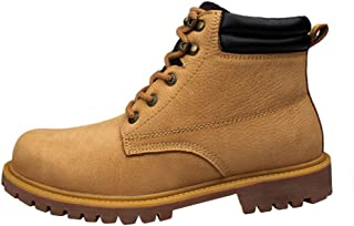 Mens Lace Punk Leather Ankle Leather Logger Boot Work Shoes