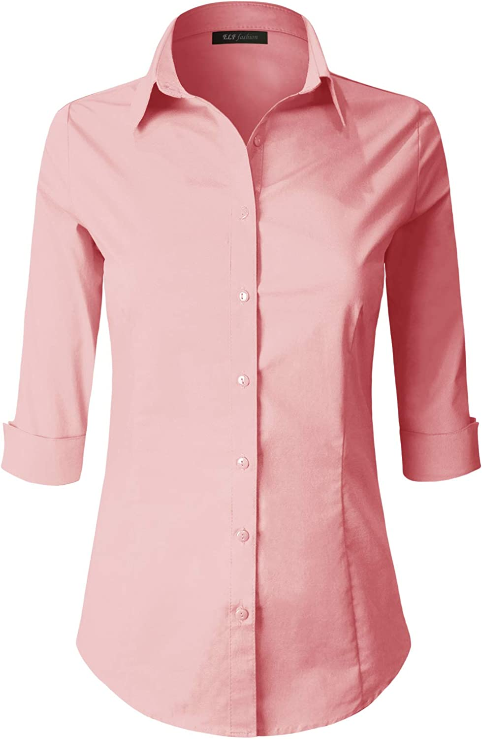 ELF FASHION 3/4 Sleeve Stretchy Button Down Collar Office Formal Casual Shirt Blouse for Women (Size S~6XL)