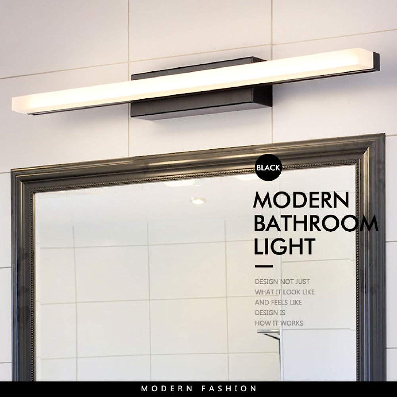 NHX Spiegellampen Spiegel Frontleuchte IP44 Wasserdichte Anti-Fog Bad Wandleuchte Einfache Moderne Acryl Spiegel Kabinett Make-Up Leuchte,schwarz-23.62in-Weißlight