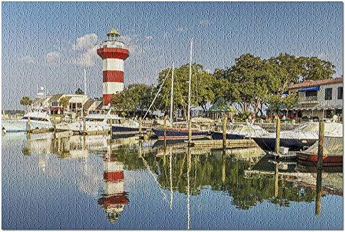 YYTOOF Único Hilton Head Island, Carolina del Sur: Faro de Rayas Rojas y Blancas en el Puerto 9011622 (¡Rompecabezas Premium de 500 Piezas para Adultos 52*38cm Hecho en EE. UU.!)