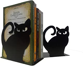 Winterworm Cute Vivid Lovely Persian Cat Nonskid Thickening Iron Metal Bookends Book Organizer for Library School Office Home Study Desk Organizer (Black)