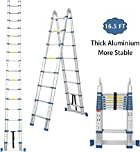 Snow Fox 16.5 Ft Telescoping Ladder, Extension Ladder, A-Frame Portable Folding Ladder Aluminium Lightweight 330lb Load Ca...