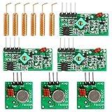 WayinTop 3 Set 433Mhz RF Télécommande Kit Émetteur et Récepteur + 433 MHz Antenne Spirale, RF Wireless Transmitter and Receiver Module Kits pour Arduino Alarme Antivol