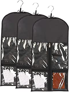 3 PCS Wig Bag with 2 Zipper Pockets, Storage Bag for Extension with Wooden Hanger, Hair Extensions Bag, Wig Storage, Hair Extension Holder and Hanger Storage Bag, Wig Carrier