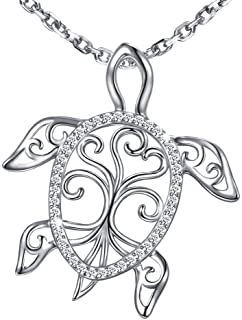 MANBU 925 Sterling Silver Charm Sea Turtle Unique Tree of Life Pendant Necklace Tortoise Animal Jewelry for Women Girl