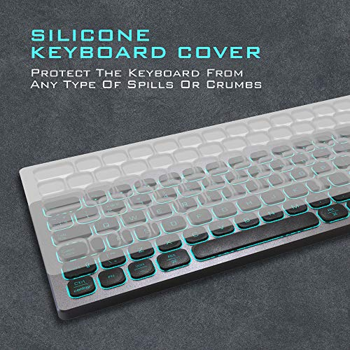 POWZAN Aluminum Quiet Wired Keyboard Backlit- Slim Chiclet Keyboard Compatible with Apple iMac, MacBook, Mac and PC, USB Keyboard Numeric Keypad RGB Lighted Key - Space Gray