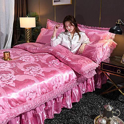 Juego de ropa de cama con funda de edredón,Cubierta de cubierta de nórdicas para niñas Seda rosa como juego de ropa de cama de satén Tapa de microfibra de color sólido tamaño queen con 2 farsas de al