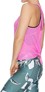 Rockwear Activewear Women's Magnolia Tie Back Top Neon Pink 6 from Size 4-18 for Singlets Tops