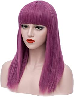 Mildiso Long Purple Wigs for Women Anime Cosplay Party Wig Halloween Costume Wigs with Wig Cap M060