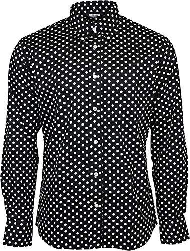 Relco Herren Schwarz Gepunktet Langarm Knöpfe 100% Cotton Hemd - Schwarz & Weiß, M