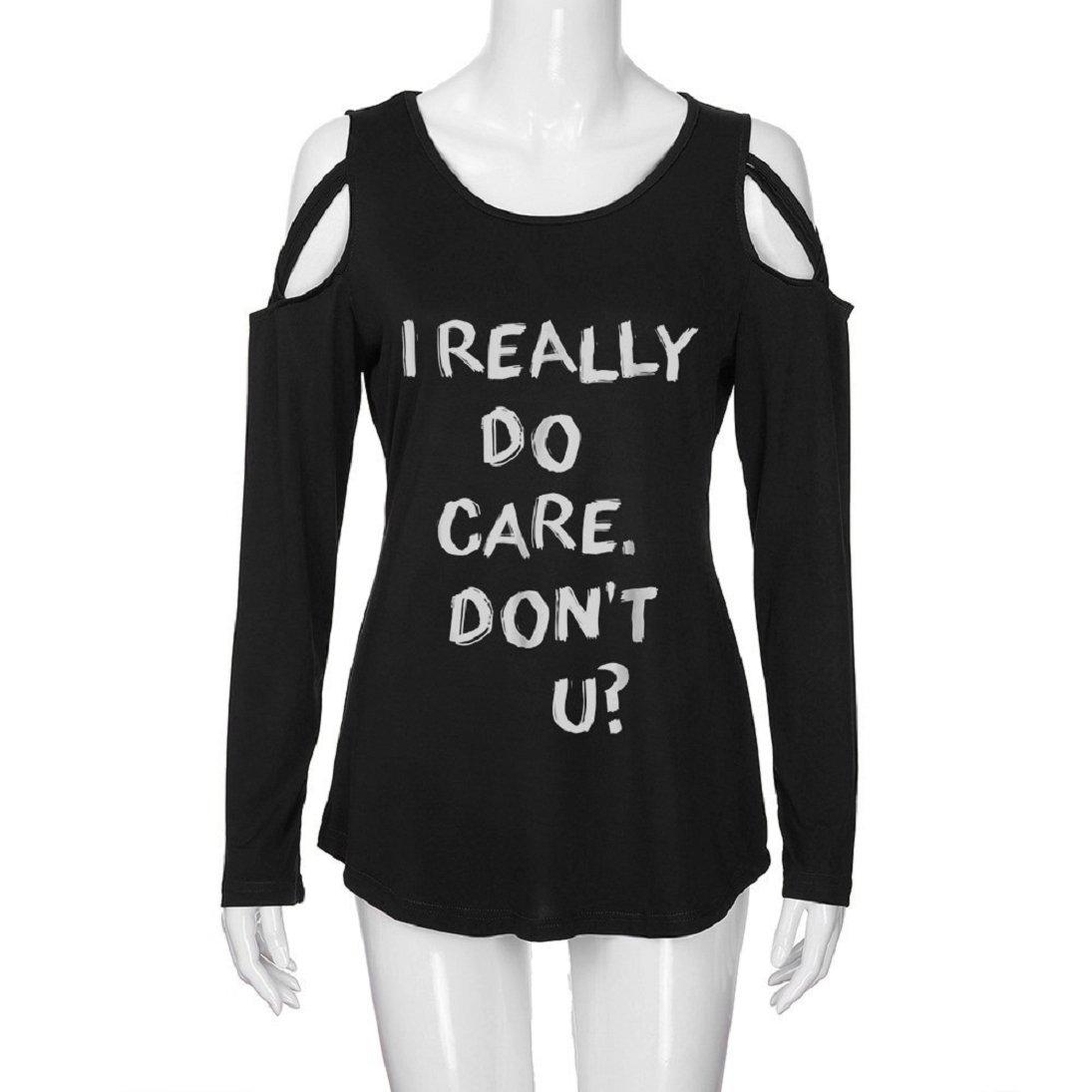 Camiseta de manga larga para mujer, diseño con texto