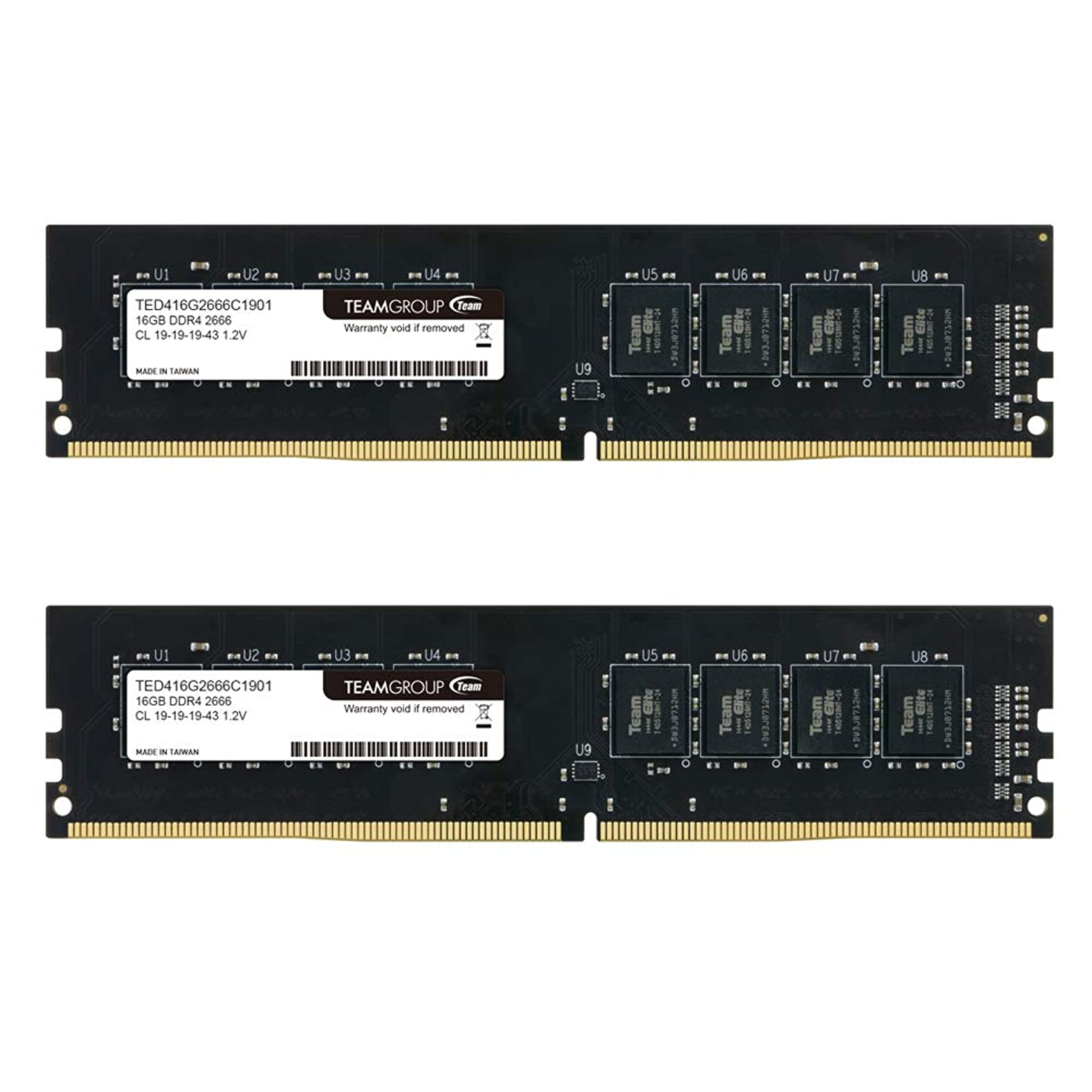 TEAMGROUP Elite DDR4 16GB Single 2666MHz (PC4-21300) CL19 Unbuffered Non-ECC 1.2V UDIMM 288 Pin PC Computer Desktop Memory Module Ram Upgrade - TED416G2666C1901 - (1x16GB) Single