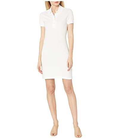 Lacoste Short Sleeve Slim Fit Stretch Pique Polo Dress (White) Women