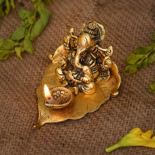 Collectible India Ganesh Idol on Leaf - Lord Ganesha with Diya - Metal Hand Craved for Home Decorative Gift Puja Gifts
