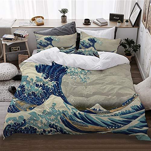 HATESAH Funda De Edredón,La Gran Ola de Pintura Japonesa de Hokusai bajo una Ola de Kanagawa,3 Pcs Ropa de Cama Funda Nórdica Sábana Bajera (220 * 240CM)