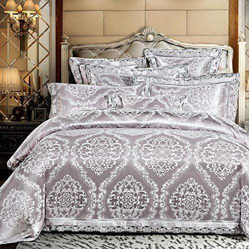 Bocotous Double Bed Duvet Set,Luxury Silk Satin Jacquard Duvet Cover Bedding Set Double Super King Size Embroidery Bed Set Bed Sheet Silver Gray 200 * 230cm(4pcs)