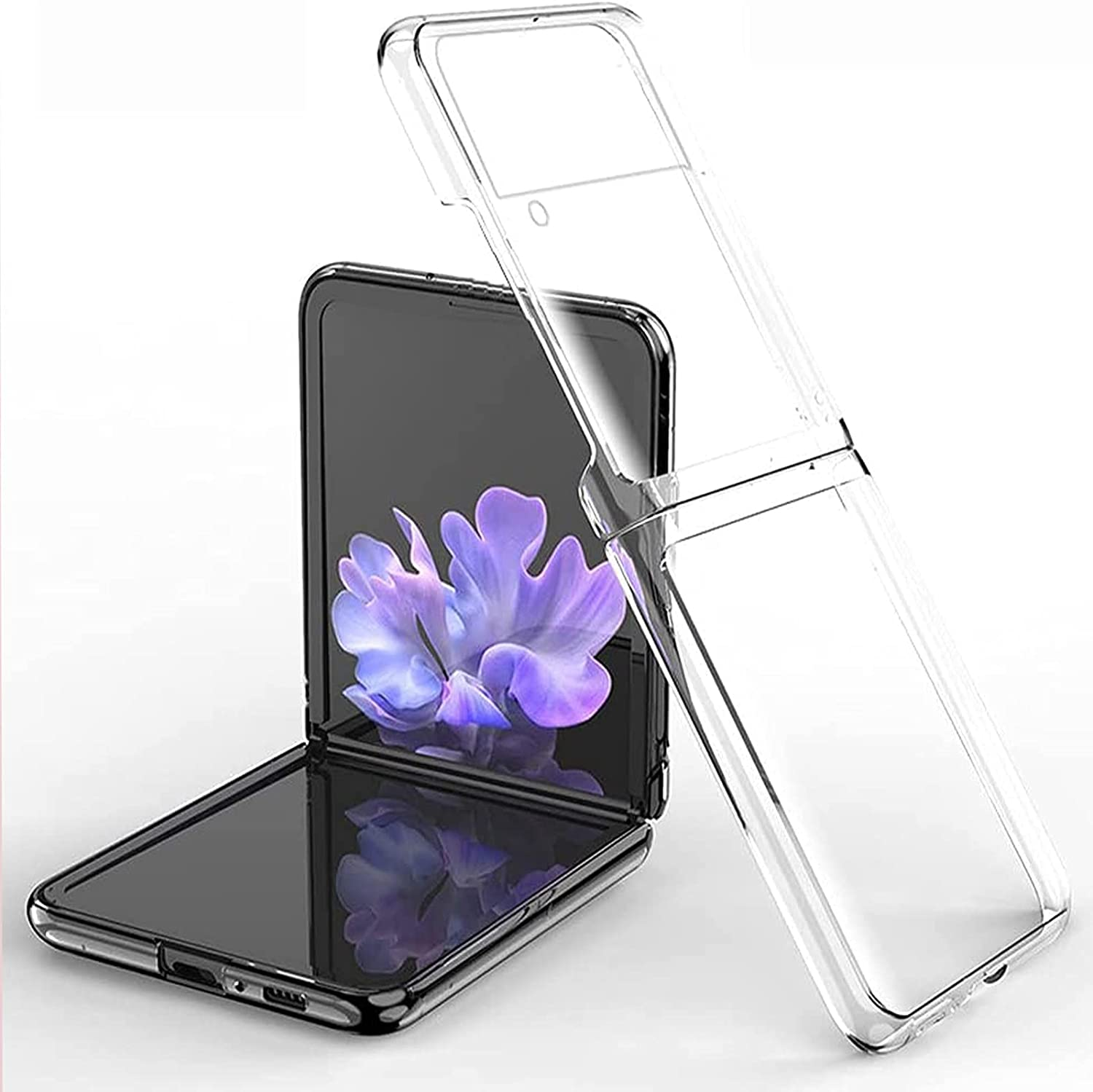 for Samsung Galaxy Z Flip 3 Case, Clear 360° Full Protection Ultra-Thin Crystal Hard PC Bumper Anti-Scratch Waterproof Cover Case, Shookproof Case for Samsung Galaxy Z Flip 3 5G (Full Clear)
