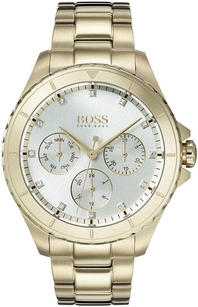Hugo boss orologio multi-quadrante donna con cinturino in placcato oro 1502445
