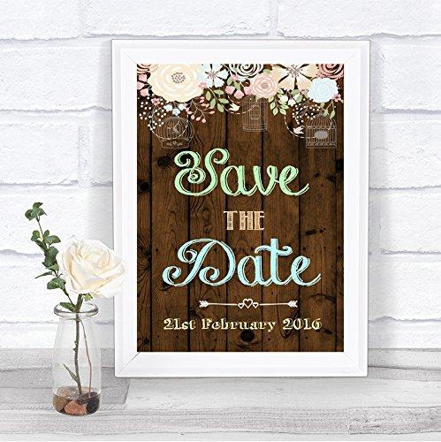 Rustiek Houteffect Bewaar de datum Gepersonaliseerde Wedding Sign Print Framed Oak Small Black/Gold/White