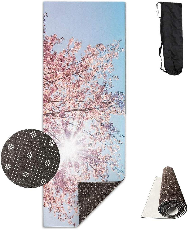 Spring Sunshine Cherry Tree Blossom Yoga Mat Towel for Bikram Hot Yoga, Yoga and Pilates, Paddle Board Yoga, Sports, Exercise, Fitness Towel