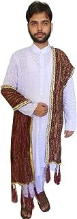Men's Indian Maroon Silk Blend With Block Print Groom Dupatta
