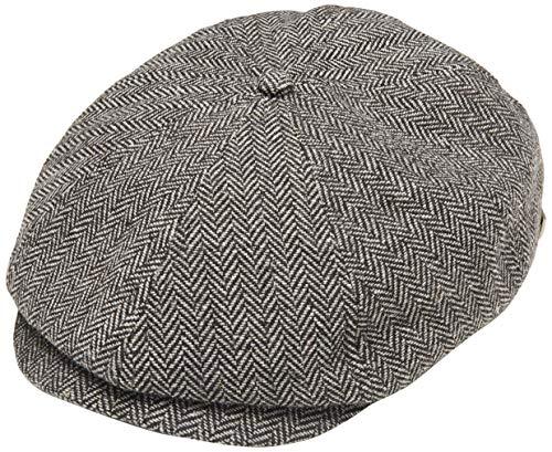 Brixton Men's Brood Newsboy Snap Hat, Grey/black herringbone, Large