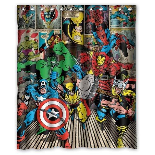 gwregdfbcv Nuevo Marvel Comics Hero Retro Durable Fabric Mildew Accesorios de baño Creativo con 12 Ganchos 180X180CM