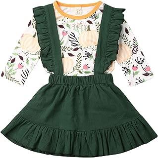 Newborn Baby Girl Halloween Costumes Outfit Pumpkin T-Shirt Top Ruffle Suspender Skirt