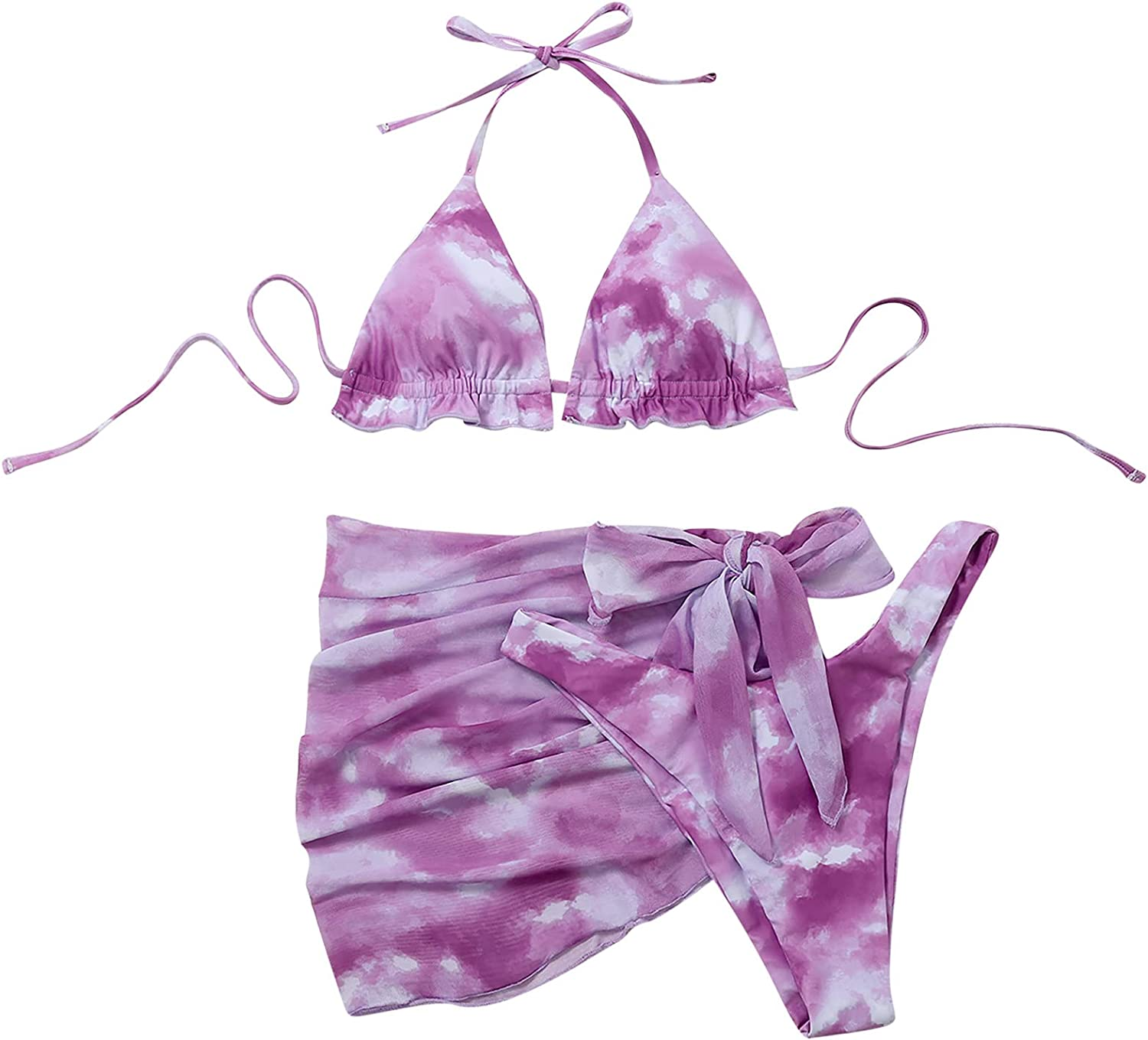 Bikini Set Swimsuit for Women, Tie Dye 3 Pieces Set with Sarongs Cover Ups Beach Skirt Bathing Suit