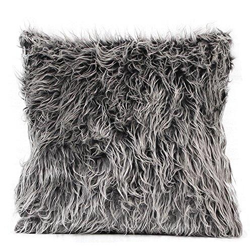 FeiliandaJJ Pillowcase, kissenhülle Kopfkissenbezug Home Dekoration Kissenbezug Einfarbig Plüsch Super weich Sofakissen für Wohnzimmer Sofa Bed,45x45cm (Dunkelgrau)