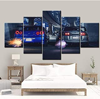Posters & Prints 5 Pieces Wall Art Frame GTR R34 Vs Up Vehicle Poster Printed Painting Hd Canvas Home Decoration (Size 3) Frameless