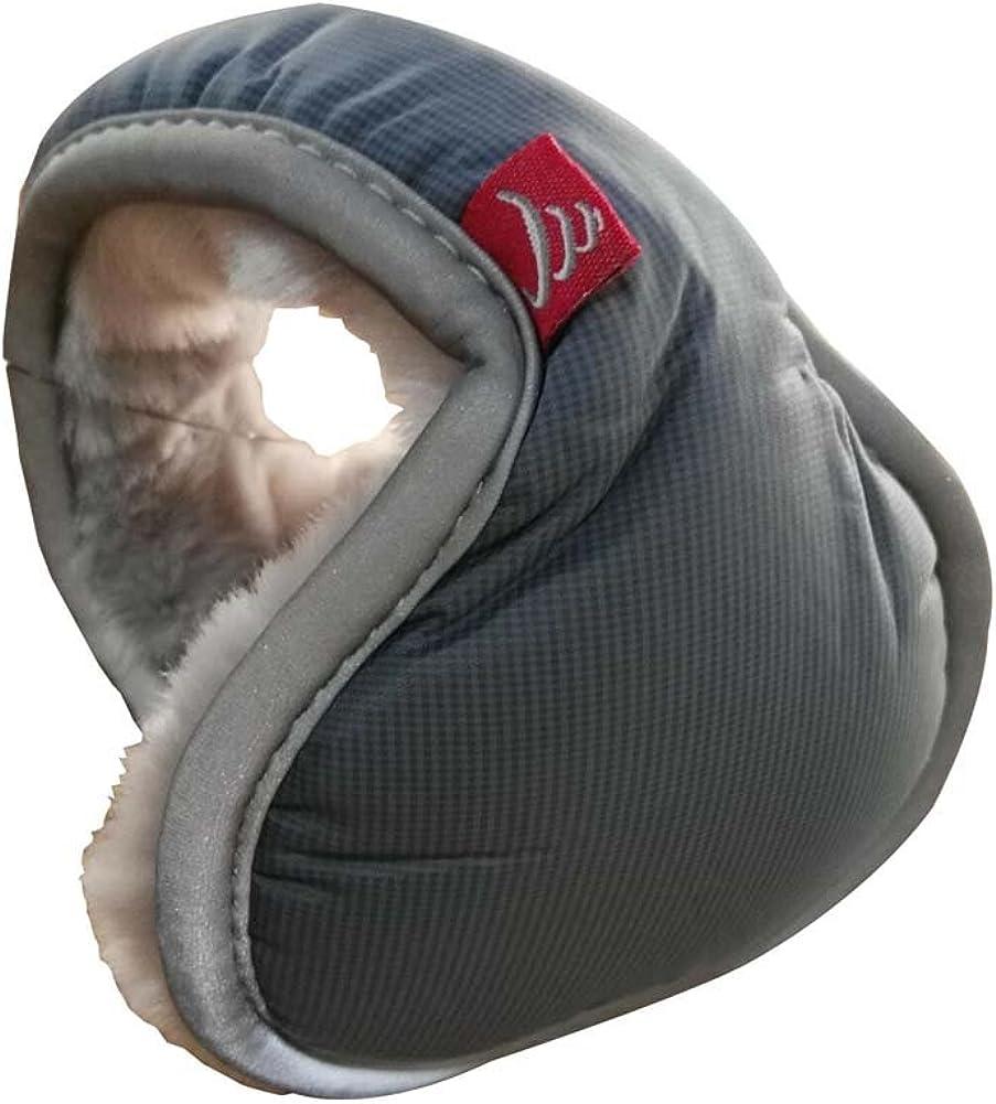 Warm Plush Ear Warmer Foldable Earmuffs for Outdoor Skiing, Gray